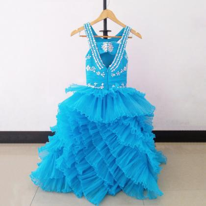 Blue Pleated Organza Tiered Ball Go..