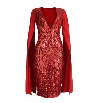 Womens Sexy Sequin Deep V-Neck Cape..