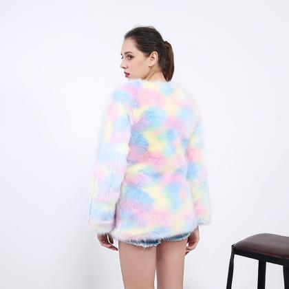 Rainbow Fluffy faux fur coat women ..