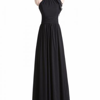 Black Chiffon High Halter Neck Floo..