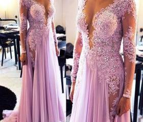 Lilac Long Prom Dres..