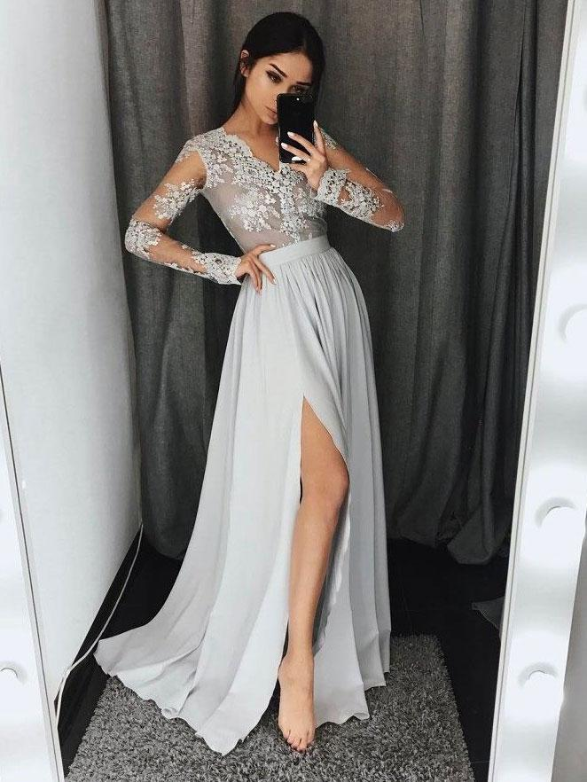 See-through Lace Top Silver Chiffon Long Sleeve Prom Party Dresses with Slit
