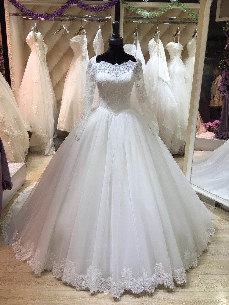 2016 Charming Long Sleeve Lace Modest Bride Muslim Wedding Dresses Ball Gown Court Train Tulle Bride Dress Wedding Gowns