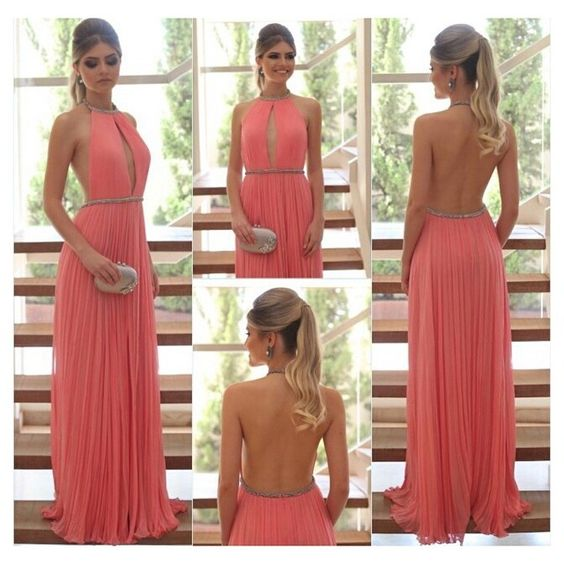2017 Coral Halter Sexy Prom Dresses A Line Backless Beading Floor Length Chiffon Women Formal Party Dress Evening Gowns