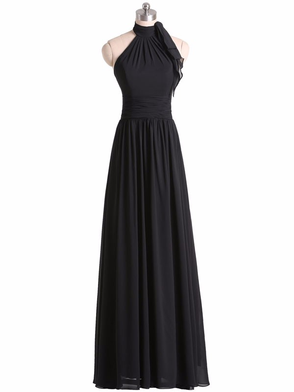 Black Chiffon High Halter Neck Floor Length A-Line Bridesmaid Dress