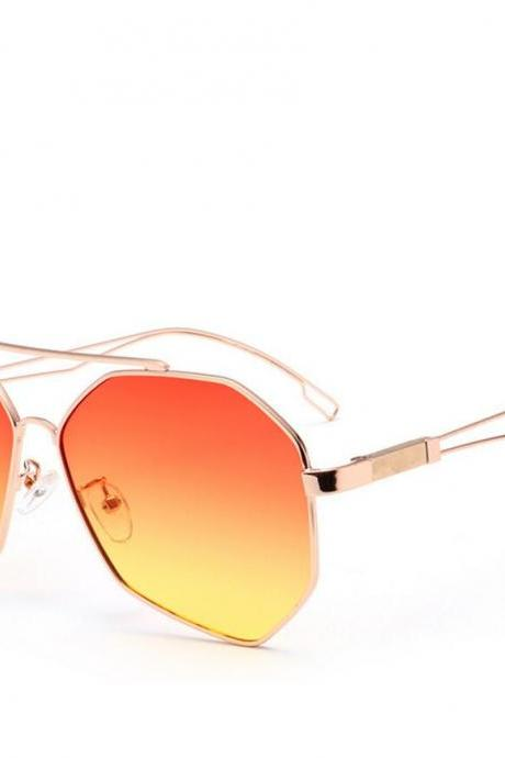 Polarized Polygon Sunglasses Women Brand Designer Big Frame Red and Yellow Gradient Women Sun Glasses Fashion Accessories