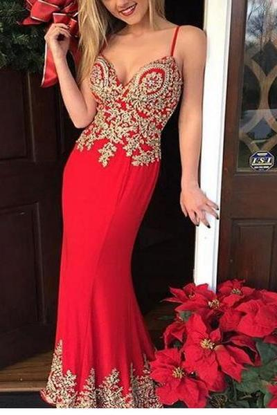 2017 Red Mermaid Chiffon Prom Dresses Gold Appliques Sleeveless Evening Dresses Party Gowns with Spaghetti straps