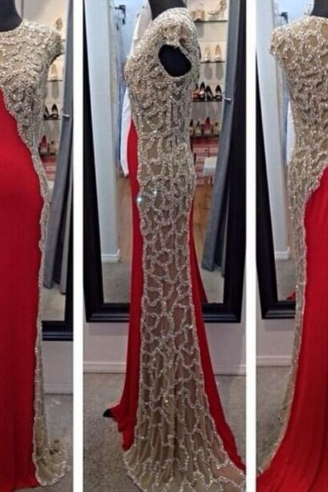 Red Chiffon Prom Dresses 2017 Sexy O-Neck Heavy Beaded Sequins Mermaid Prom Dresses Special Occasion Dresses Cap Sleeve Women Evening Party Gowns