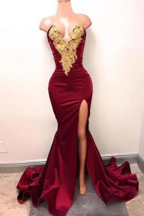 2017 New Sexy Arabic Burgundy Prom Dresses Evening Wear Gold Lace Appliqued Mermaid High Split Elegant Formal Party Gowns