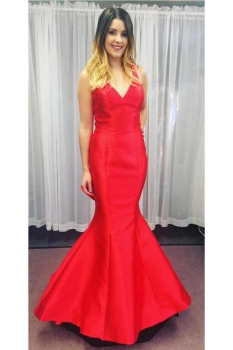 Red Mermaid Formal Evening Dress 2017 New Arrival Open Back V Neck Floor Length Satin Party Dresses Arabic Prom Party Gowns