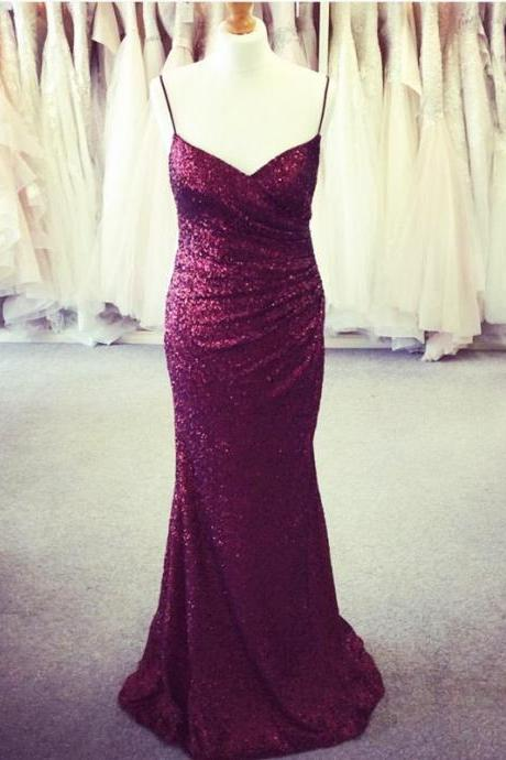 Long Burgundy Sequins V Neck Mermaid Bridesmaid Dresses,Spaghetti Straps Prom Dress,Women Formal Party Gowns