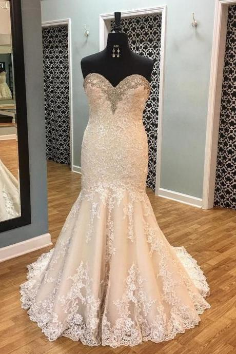 Crystal Beaded Sweetheart Lace Mermaid Wedding Dresses Bride Dress Gowns