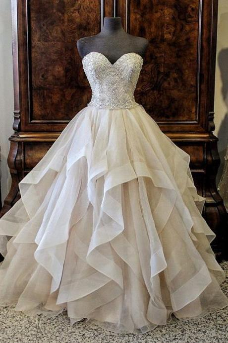 Gorgeous Crystals Beading Sweetheart Organza Layered Wedding Dress Ball Gown Long Bride Dresses