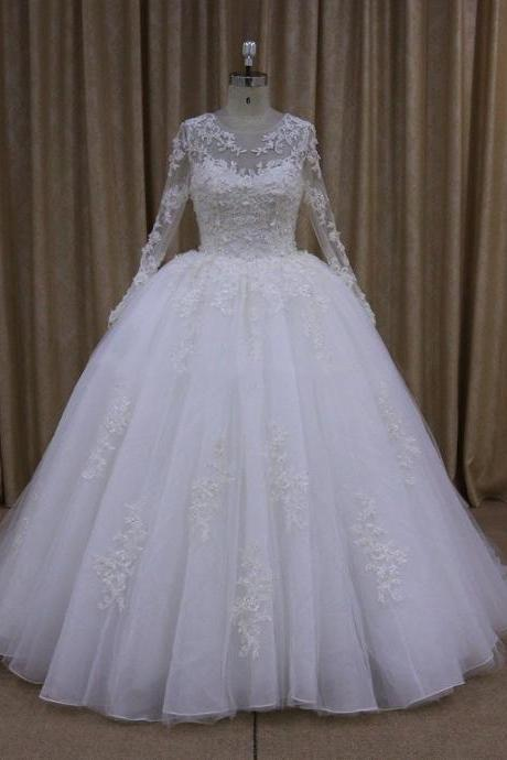 sheer long sleeves white organza tulle ball gown wedding dresses lace appliques 2017