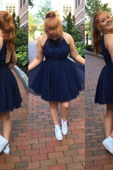 A Line Pleated Tulle Halter Homecoming Dresses Short Prom Dress With Keyhole Back Navy Blue