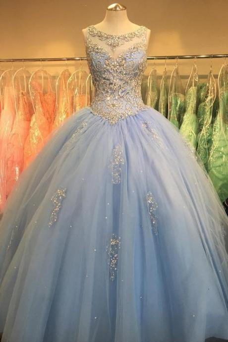 Crystal Beaded Sequins Sheer Scoop Neck Tulle Quinceanera Dresses Ball Gowns Light Blue Sweet 16 Years Prom Party Dress
