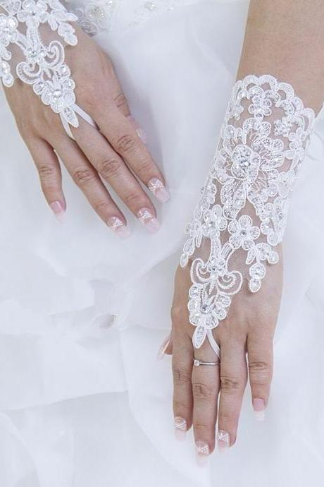 White Fingerless Wedding Gloves Lace Beaded For Bridal Wedding Accessories