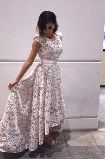 Elegant A-Line Scoop Cap Sleeves High-Low Ivory Asymmetrical Lace Prom Dress Graduation Party Dresses Gowns