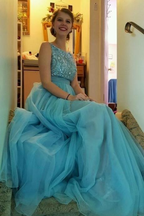 Blue tulle prom dress,sequins crystals prom dress ,open backless prom dress, scoop neck graduation dresses, long prom dress,2017 prom dress,party gowns