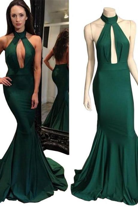 Long Mermaid Dark Green Prom Dresses 2017 Prom Gown Backless Sexy Evening Dress Formal Party Dress Halter Women Gowns
