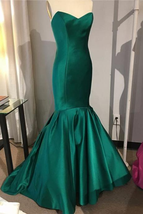 Emerald Green Mermaid Evening Dress 2017 Long Elegant Prom Dresses Sweetheart Floor Length Satin Evening Party Gowns Women Formal dress