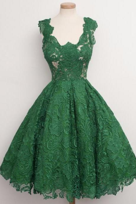 Classic Emerald Green Lace Prom Dresses A Line Knee Length 2017 Formal Gowns Important Party Dress Homecoming Dress