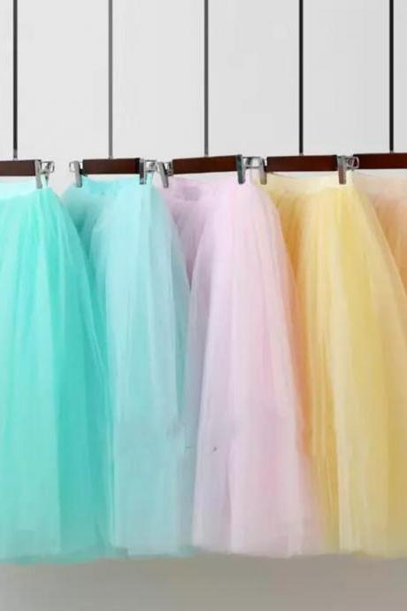 Dance Show Long Skirt Fluffy Princess Fairy High Quality Midi Skirt Tutu Tulle Skirts Womens 2017 Summer Skirt Cheap