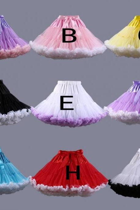 New Puff Women Mesh Skirt Party High Waist Mini Pettiskirt Adult Dance Tutu Skirts Tulle Petticoat Skirt with Bow
