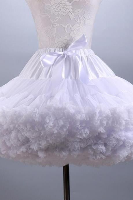 Fluffy Women's Tutu Skirt Adult Tulle Short Petticoat with Ruffles Mini Skirt
