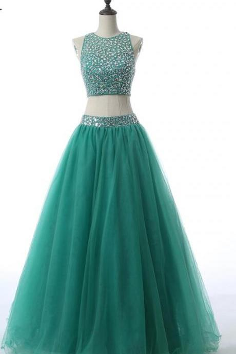 2017 Deep Green Quinceanera Dress Floor Length Tulle Beaded Crystals Sequins Two Pieces Prom Sweet 16 Dresses Women Prom Party Gowns