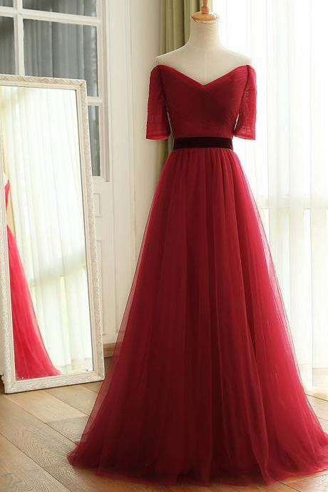 2017 New Wine Red Long Floor Length Off The Shoulder Ruched Tulle Bridesmaid Dresses With Half Sleeves Wedding Party Dress