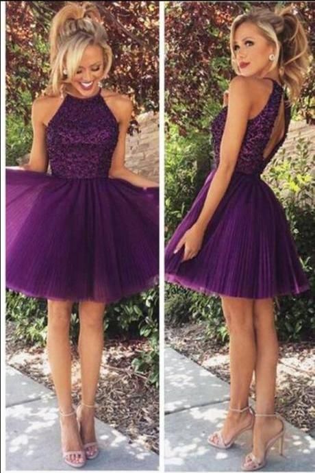 2017 Sexy Open Back Halter Purple Beaded Homecoming, Cocktail Dresses,Short Tulle Graduation Dresses