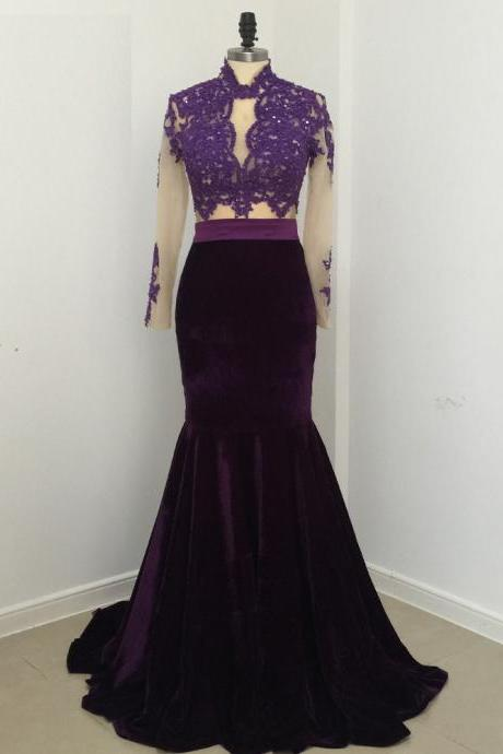 Elegant Sexy Mermaid Lace Velvet Evening Dresses 2017 Party High Neck Long Sleeve Sweep Train 2 Pieces African Purple Prom Dress