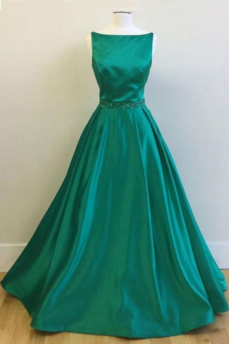 Green satin boat neck long prom dress for teens, evening dress,sequins beaded sashes prom gowns
