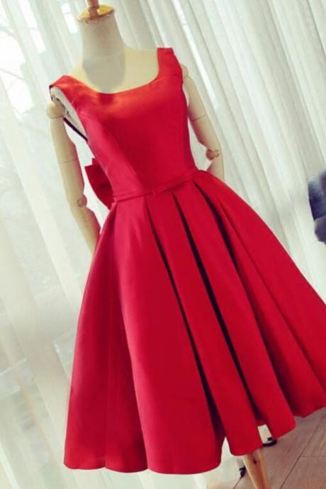 2017 Summer Fashion Party Dress,Knee Length Red Prom Dress,A line Satin Graduation Dresses,Scoop neckline Short Dresses,Backless Party Dress with Big Bow,Women Formal Party Dress,Sweety Gowns