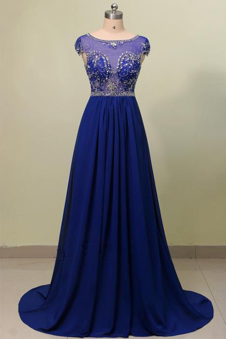 Elegant Scoop Neckline Sweep Train Chiffon Royal Blue Prom Dress With Beading A Line Cap Sleeve Women Party Dresses Gowns