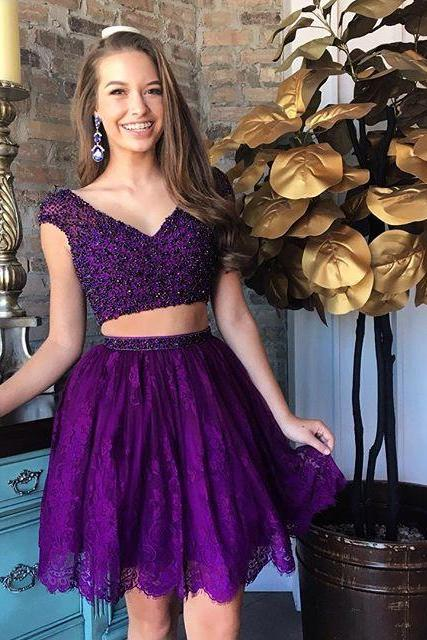 Cheap homecoming dresses 2017,Two Piece Purple Lace Short Homecoming Dress,cap sleeve prom party gown