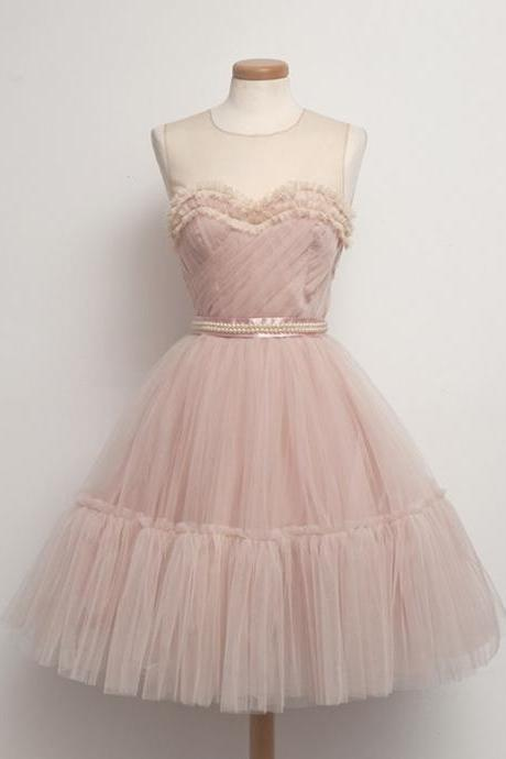 Blush Pink A-line Short Prom Dress Pleat Tulle Party Dress for 2017