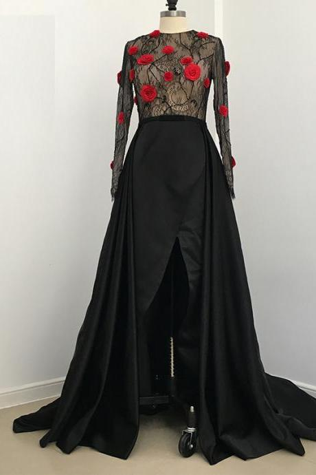 2018 Saudi Arabia Vintage Evening Dress Puffy A-line Sheer Lace Top Long Sleeves Side Slit Prom Dress Party Gowns