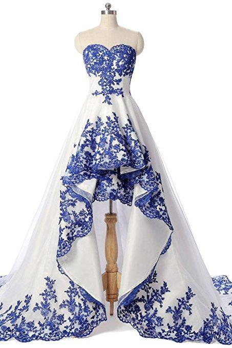 Sexy High Low Evening Dresses With Sweetheart Neckline Elegant Blue Lace Applique Chapel Train Prom Dress Formal Gowns