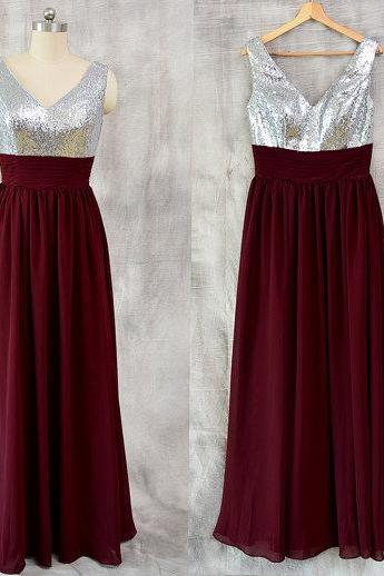 Sexy Burgundy Bridesmaid Dresses Sequined Bodice With V Neck Long Chiffon Evening Prom Party Gowns