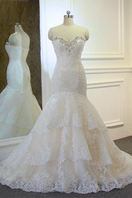 High Quality New Fashion Lace Mermaid Ivory Wedding Dresses Off The Shoulder Bridal Gown Custom Size Beaded Lace up Back Wedding Dress