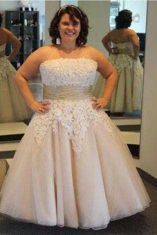 Strapless Lace Appliqued Plus Size Short Wedding Dresses