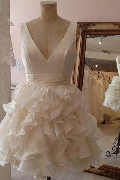 Ball Gown V-neck Ruffle Organza Skirt Little White Wedding Dresses,Simple Homecoming Dresses