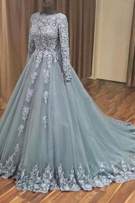 A-line Grey Tulle Lace Appliqued Long Sleeves Wedding Dresses Evening Party Dress Gowns,Muslim wedding dress