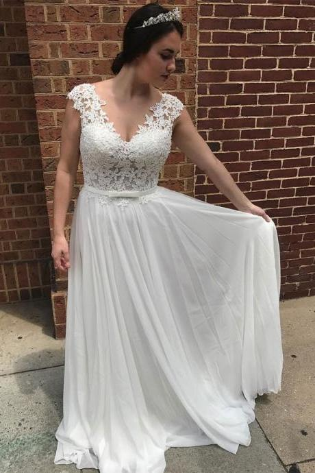 A-line V-neck See-through Lace Appliqued Chiffon Beach Wedding Dresses