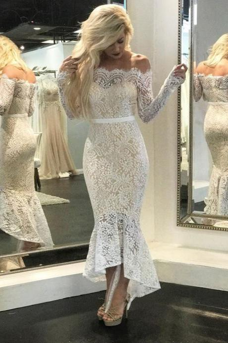Off the shoulder Vintage Lace Long Sleeves Mermaid Wedding Dresses