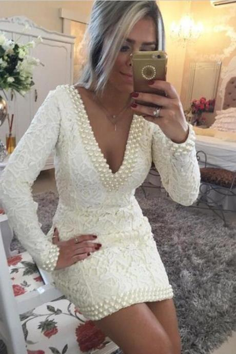 Ivory Long Sleeve Prom Dresses Short 2018 Pearls Lace High Quality V neck robe de soiree Cocktail Dress Party