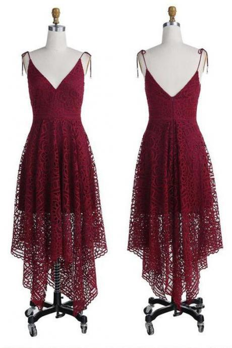 Burgundy Lace Plunge V Tie Spaghetti Straps High Low Ruffled Prom Dress, Evening Dress, Wedding Party Dress