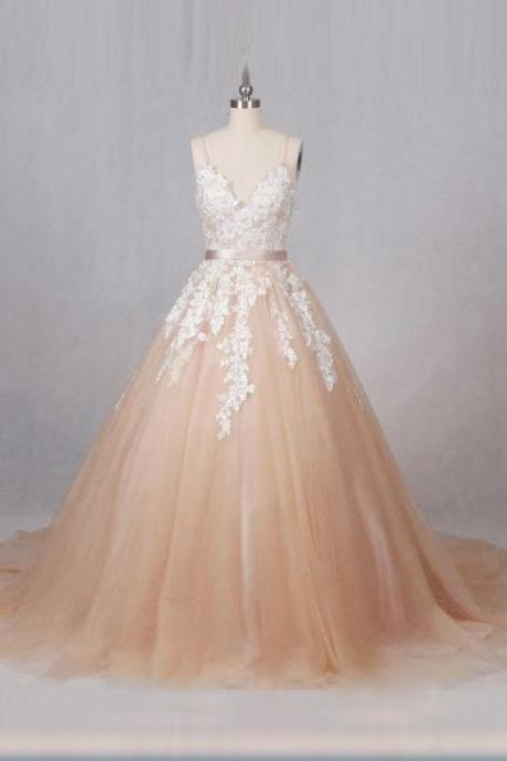 Floral Lace Appliques Champagne Tulle Plunge V Spaghetti Straps Floor Length Wedding Gown Featuring Train